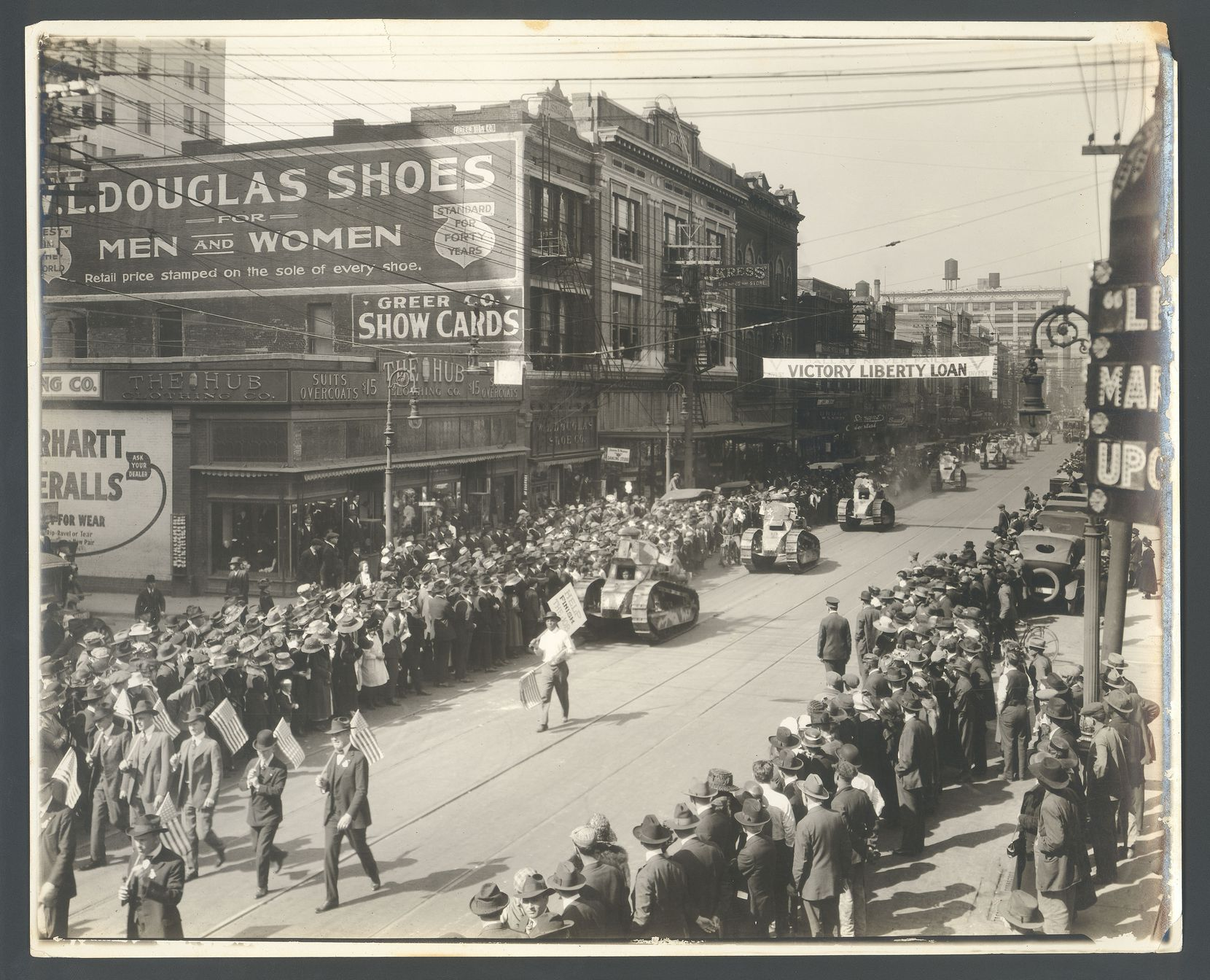 The patriotic Victory Liberty Loan Parade in downtown Dallas in 1917 was similar to one the following year that led to rapid spread of the Spanish flu. (Courtesy DeGolyer Library, Southern Methodist University.)