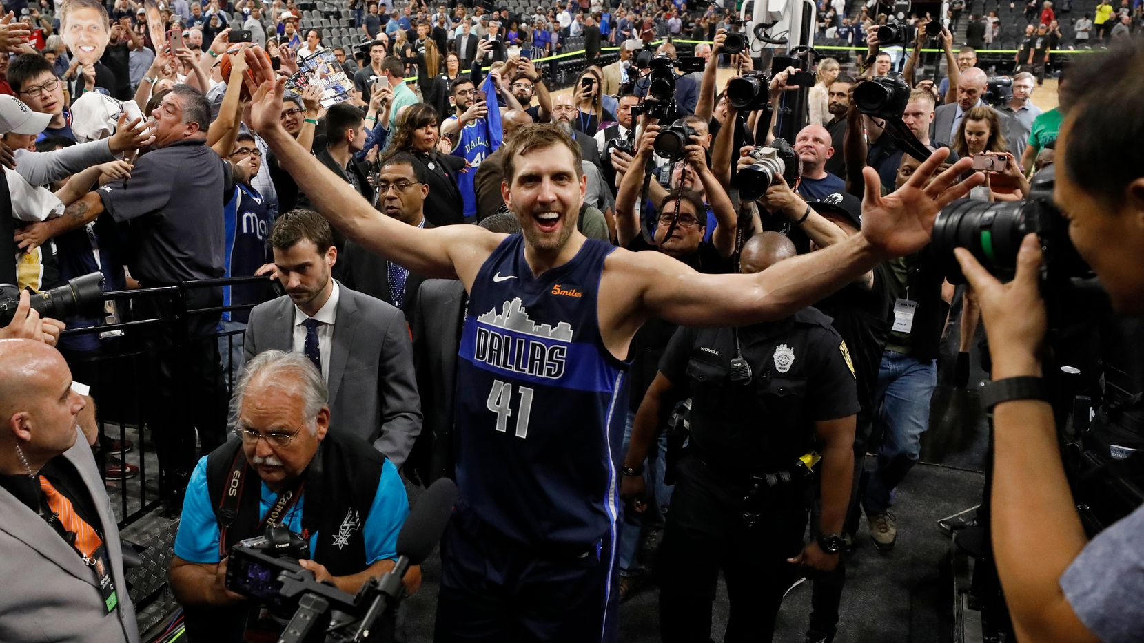 Dallas Mavericks' Dirk Nowitzki walks off the court after the game against the San Antonio Spurs, held Wednesday April 10, 2019 at the AT&T Center in San Antonio, Texas.    (Edward A. Ornelas/Special Contributor)