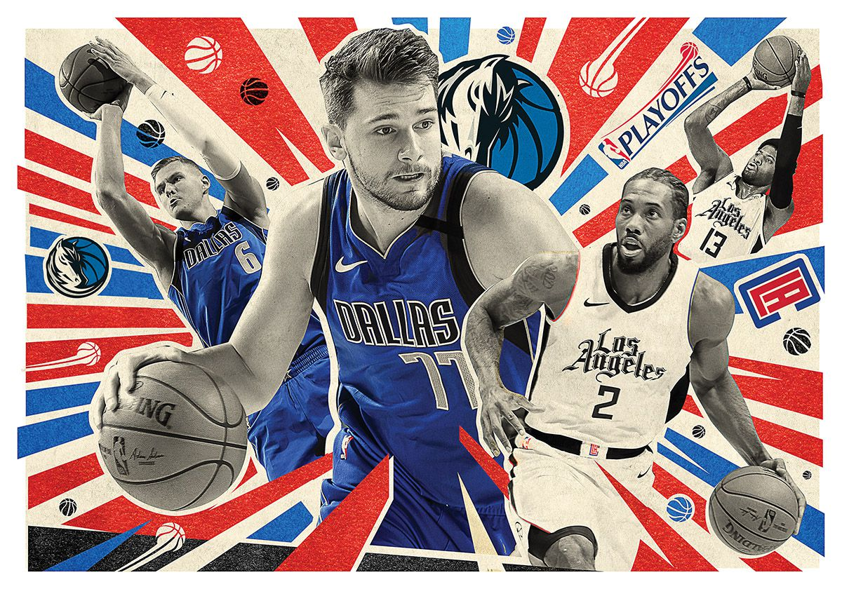 The rematch is set between the Dallas Mavericks and Los Angeles Clippers (Michael Hogue/Staff artist; Photos/Getty images)