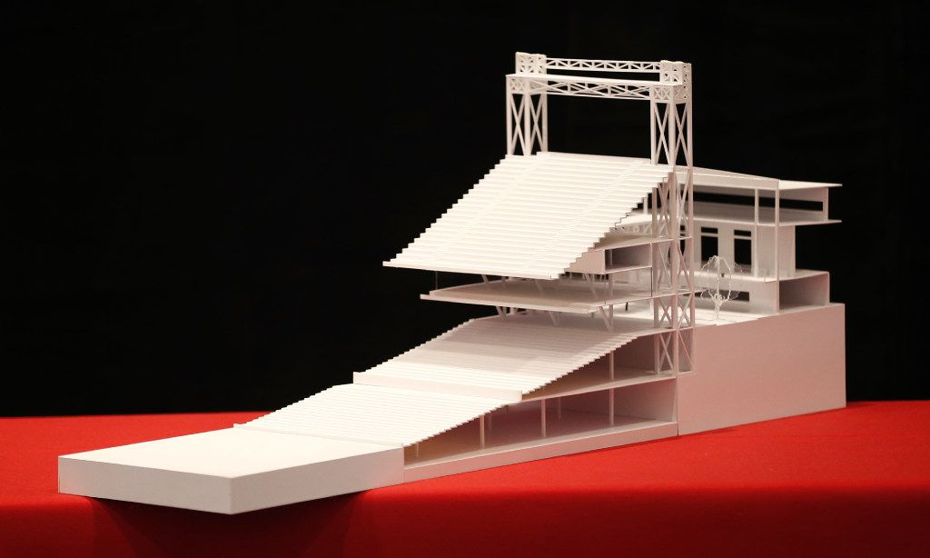 A model of the new Texas Rangers ballpark to be built by HKS.