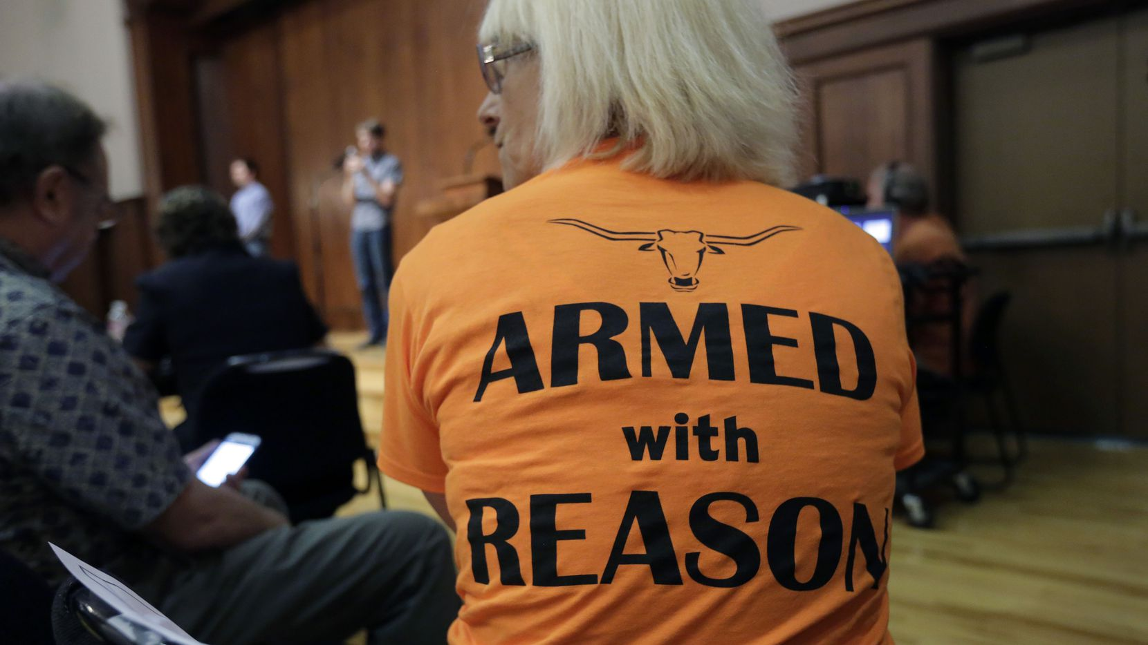 Professor Ann Cvetkovich waited to speak about Texas' new campus carry law during a public forum at the University of Texas at Austin last September. (File Photo/The Associated Press)