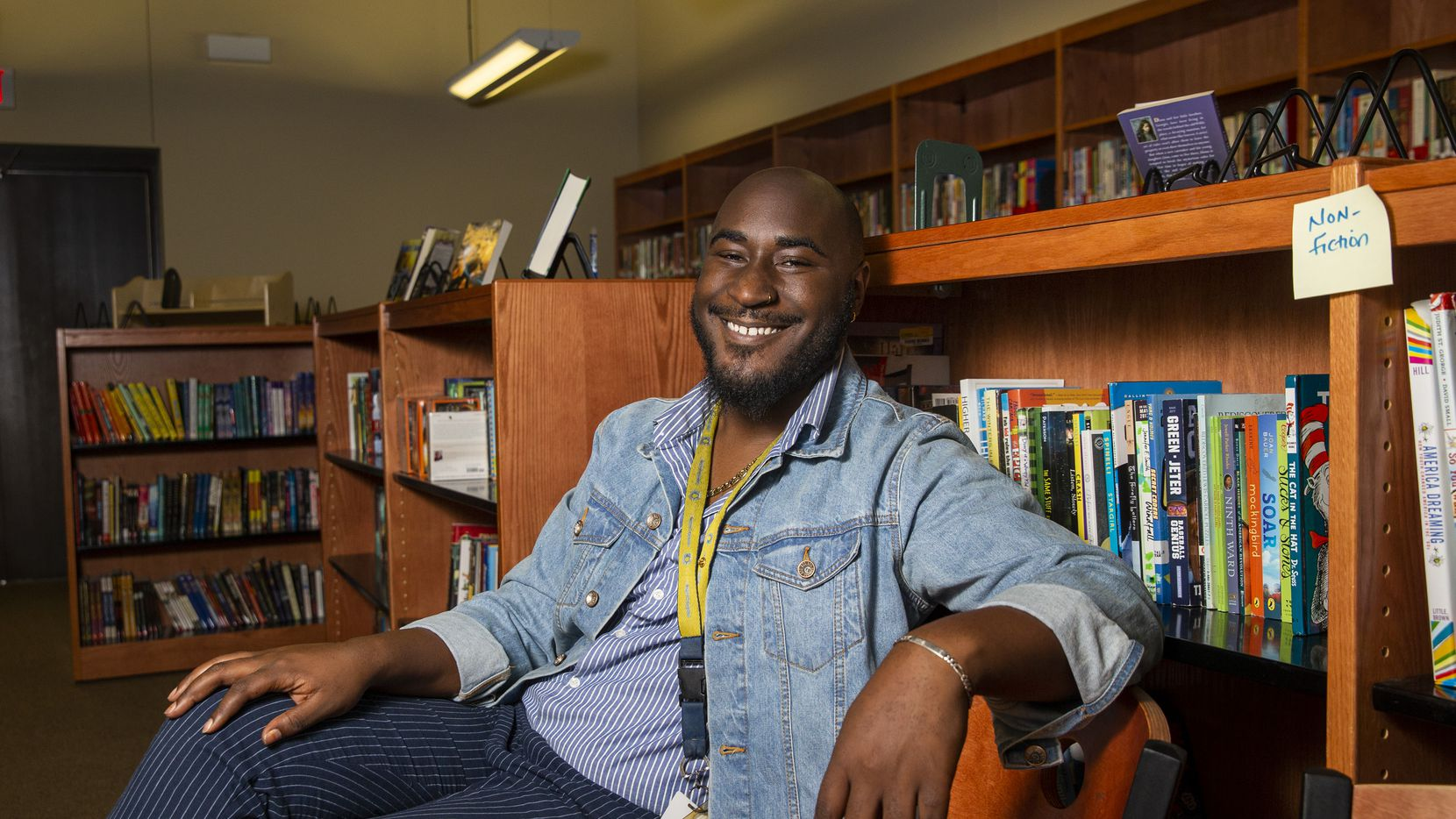 Terrence Smith, a fourth grade reading and humanities teacher, poses for a portrait at Uplift Infinity Preparatory in Irving, Texas, on Friday, November 22, 2019. Smith is an educator at Uplift Infinity Preparatory through Urban Teachers, a teaching training program in three U.S. metropolitan areas that is launching a new program designed to draw black men and women into the teaching workforce.