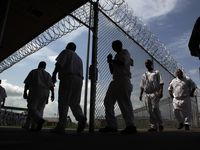 Inmates walk to the Chow Hall at TDCJ's Hightower Unit in Dayton, Texas, in July 2014. Dallas city leaders want to tackle the root causes of crime by giving ex-offenders a chance to re-enter society seamlessly.