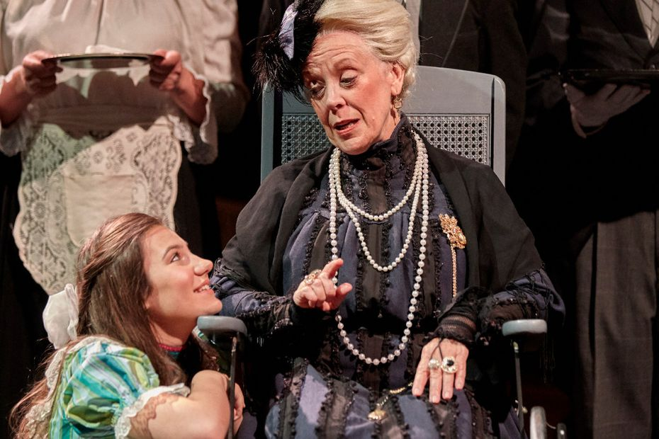 Wendy Welch (right) and Grace Moore play Madame Armfeldt and her granddaughter, Fredrika, in A Little Night Music at Theatre Three in Dallas.