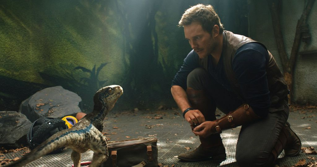 """This image released by Universal Pictures shows Chris Pratt in a scene from the upcoming """"Jurassic World: Fallen Kingdom."""" (Universal Pictures via AP)"""