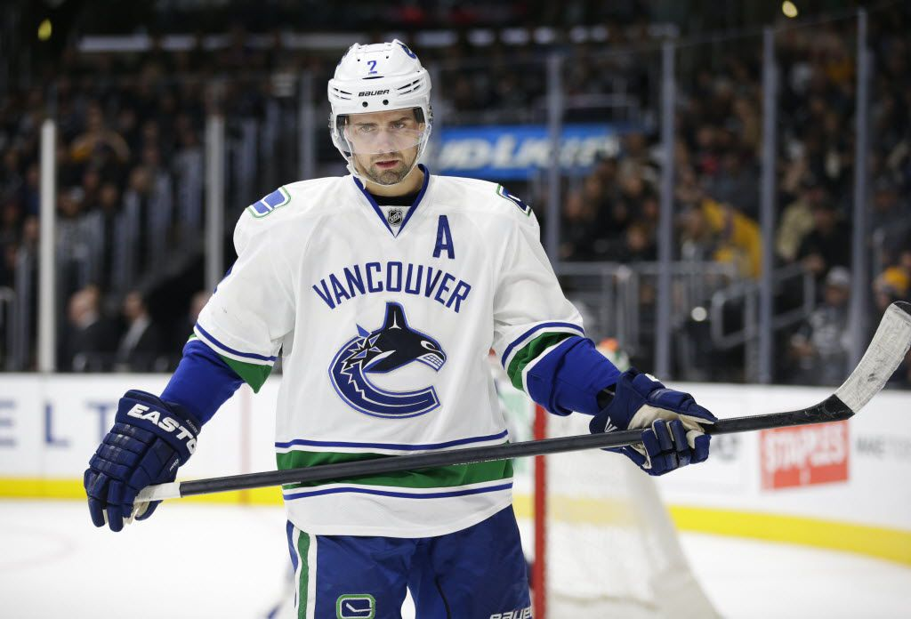 FILE - In this Dec. 1, 2015, file photo, Vancouver Canucks' Dan Hamhuis skates during the second period of an NHL hockey game against the Los Angeles Kings, in Los Angeles. It's rebuilding time in Toronto and replenishing time in Montreal, Calgary, Edmonton, Winnipeg and Vancouver. The Canucks have perhaps the best rental player still available in defenseman Dan Hamhuis, and Flames blue liner Kris Russell should be highly sought after, too. (AP Photo/Jae C. Hong, File)