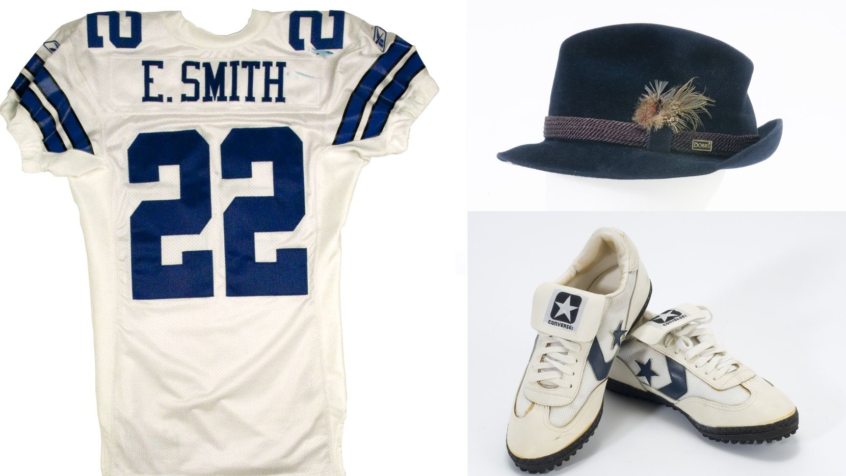 The jersey Emmitt Smith wore when he broke Walter Payton's all-time rushing record, Tony Dorsett's cleats from his record 99-yard touchdown run in 1983 and a Tom Landry trademark fedoras on display at the Pro Football Hall of Fame.