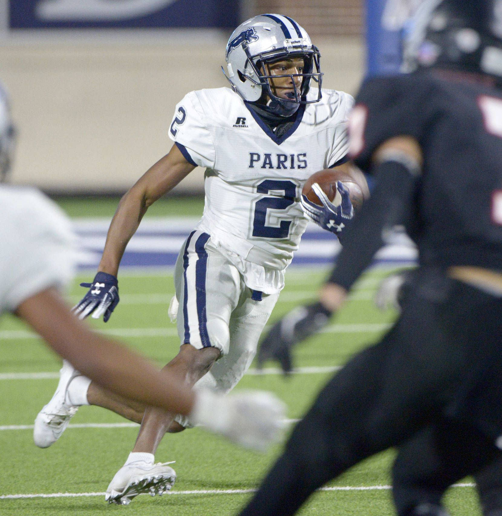Paris' KD Washington (2) looks for running room in the first half during a Class 4A Division I Region II final playoff football game between Paris and Argyle, Saturday, Dec. 5, 2020, in McKinney,  Texas. (Matt Strasen/Special Contributor)