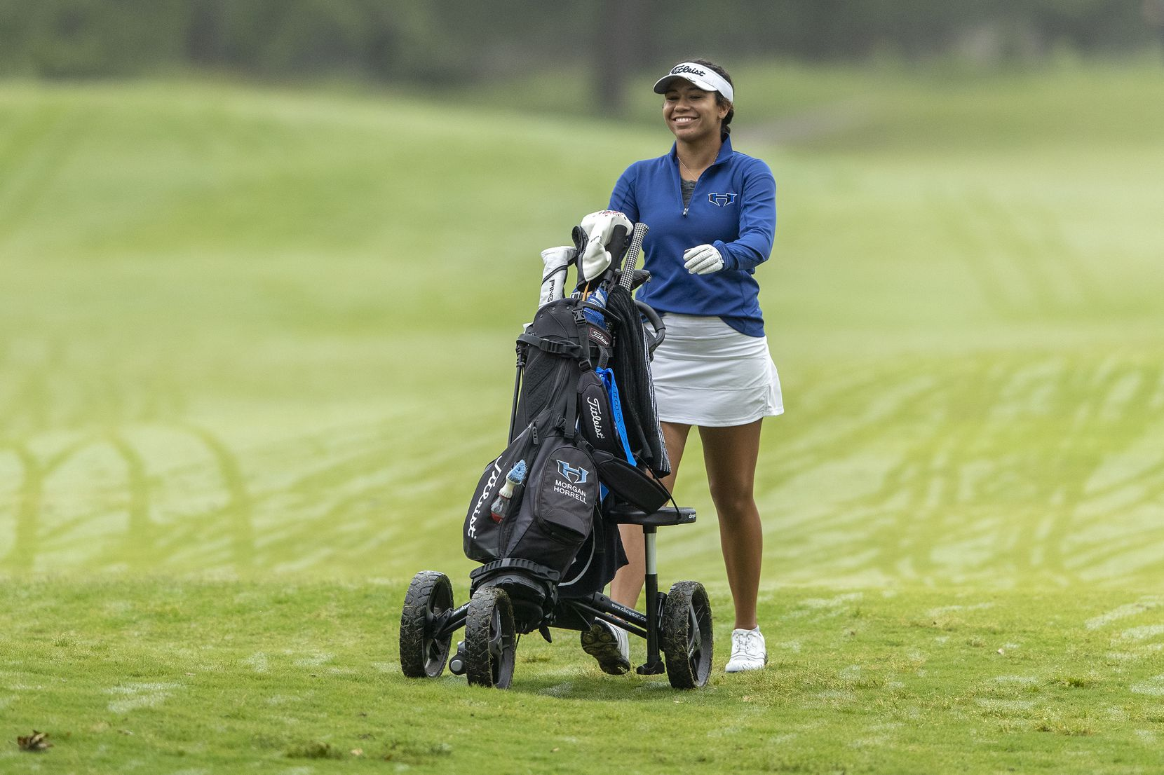 Lewisville Hebron's Morgan Horrell walks to the 1st green during round 2 of the UIL Class 5A girls golf tournament in Georgetown, Tuesday, May 11, 2021. (Stephen Spillman/Special Contributor)