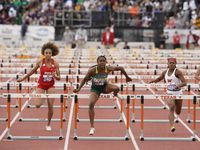 Desoto's Jayla Hollis (1293) wins the Class 6A state title in the 100-meter hurdles last season. This year, Hollis has the area's best times in the 200 meters and 100 hurdles. (Bob Daemmrich/Special Contributor)