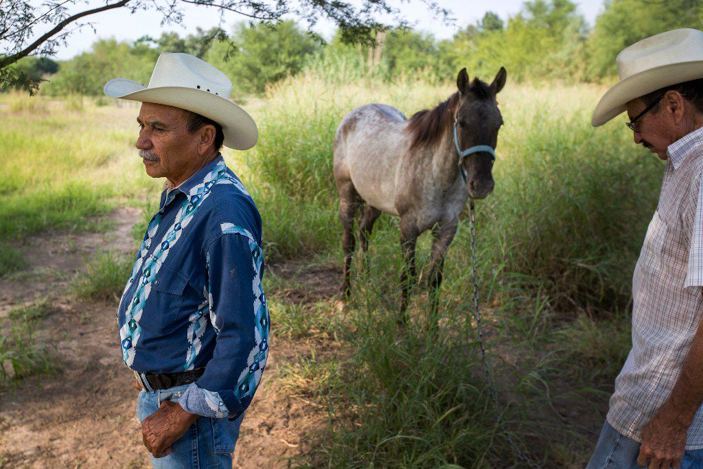 """Fermin Longoria (left) and his brother Julian Longoria stand with their horses near the banks of the Rio Grande River on Wednesday, May 10, 2017, in El Cenizo, Texas. The small town (population 3,800)  has had  a """"safe haven"""" ordinance in place since 1999, and has become the first to legally challenge the Texas sanctuary cities ban."""