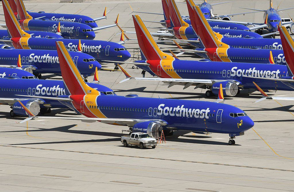 (FILES) In this file photo taken on March 28, 2019 Southwest Airlines Boeing 737 MAX aircraft are parked on the tarmac after being grounded, at the Southern California Logistics Airport in Victorville, California (Photo by Mark RALSTON / AFP)MARK RALSTON/AFP/Getty Images