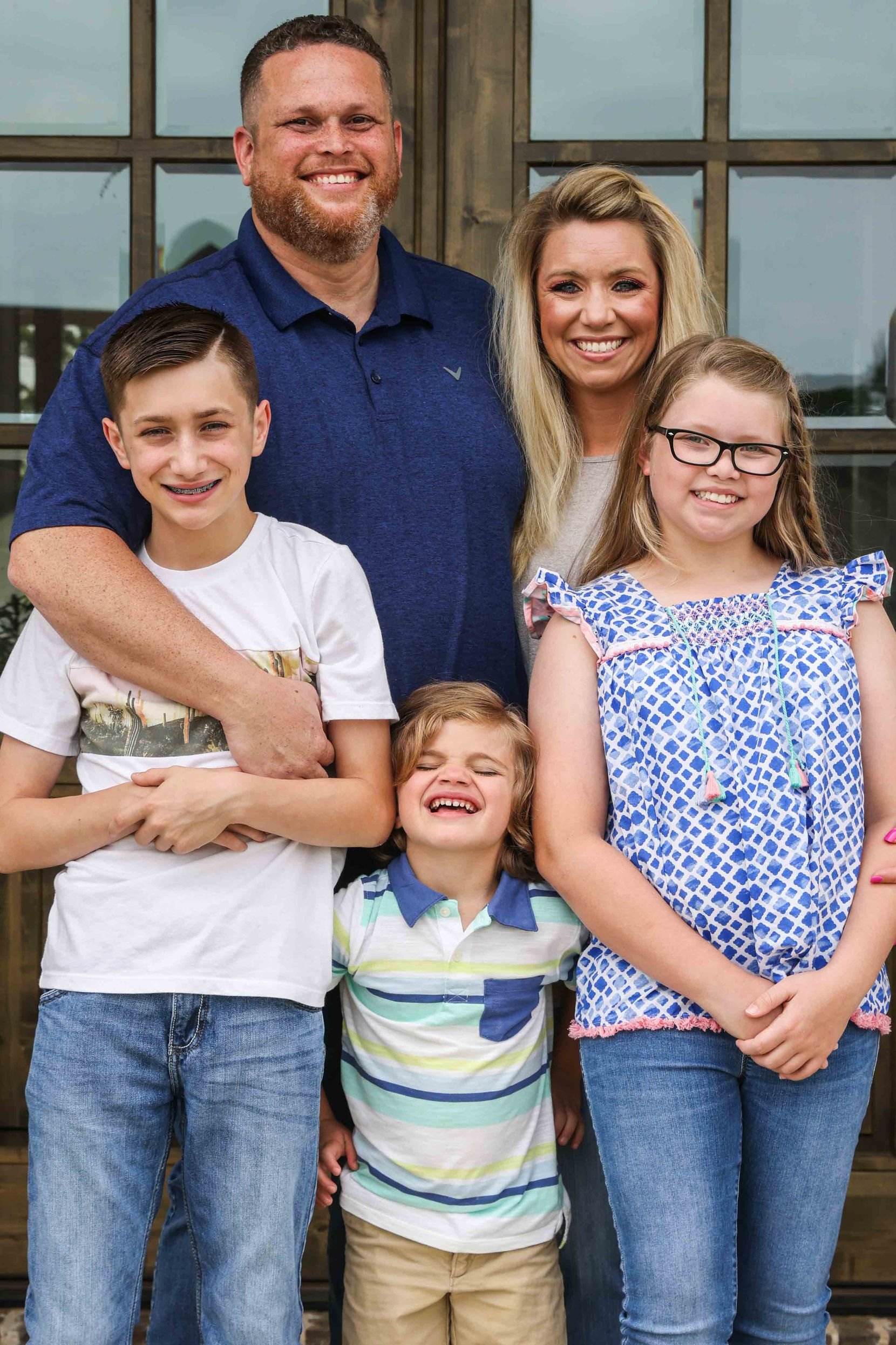 Tyler Tines Pride's family from left, Braydan, 13, Jaxon, 4, his wife Charity, 38 and Maddison, 10.