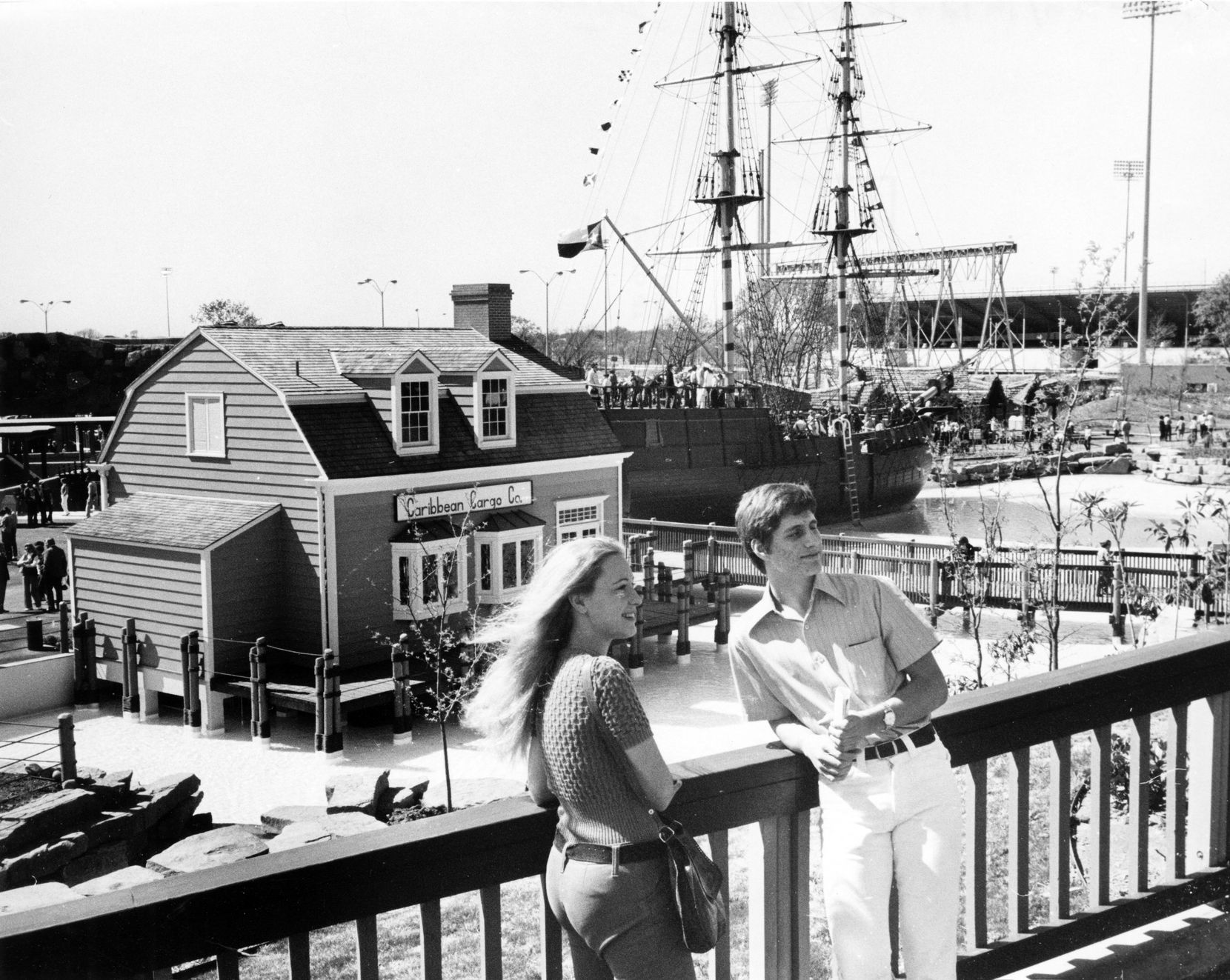 Visitors enjoy the sunshine at the March 18, 1972, grand opening of Seven Seas.