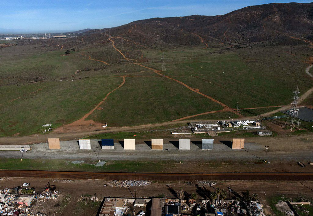 Aerial view of President Donald Trump's border wall prototypes as seen from Tijuana, in Baja California state, Mexico, on January 7, 2019.