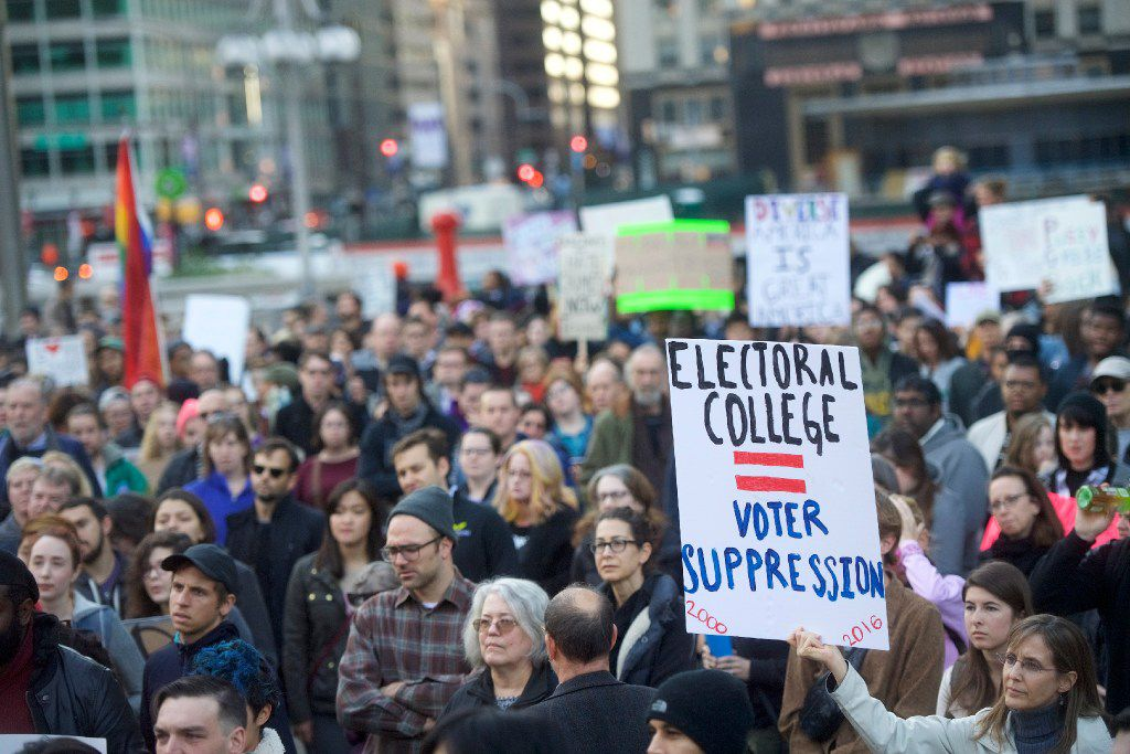 Protesters demonstrate against President-elect Donald Trump Nov. 13, 2016 in Philadelphia.  The Republican candidate lost the popular vote by some 3 million votes, but won the Electoral College.