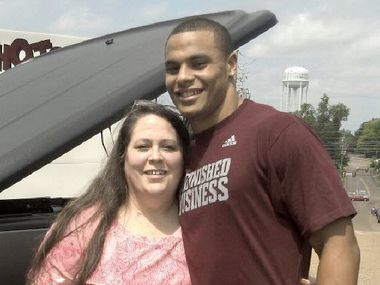 MSU QB Dak Prescott with his mom, Peggy Prescott. submitted by the family in December of 2012.