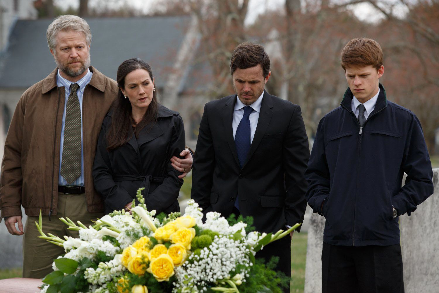 "(Left to Right) C.J. Wilson, Jami Tennille, Casey Affleck and Lucas Hedges in a scene from the movie ""Manchester by the Sea"" directed by Kenneth Lonergan."