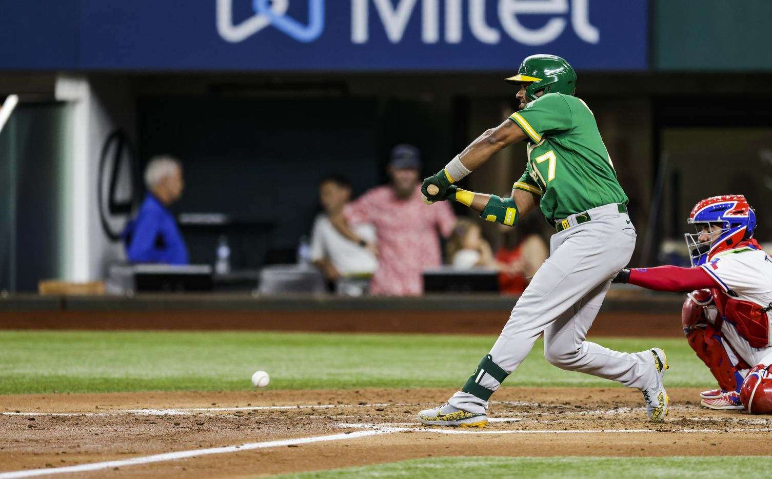 Oakland Athletics' Elvis Andrus (17) grounds out to first in his first at bat during the second inning of a baseball game against the Texas Rangers in Arlington, Monday, June 21, 2021. (Brandon Wade/Special Contributor)