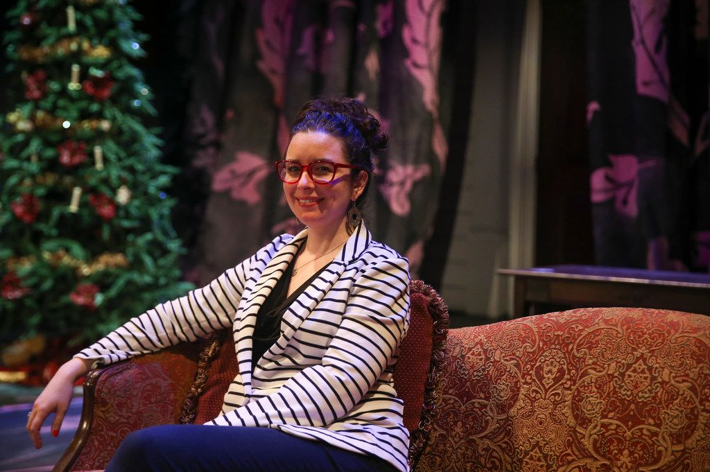 Director Joanie Schultz sat on the set for A Doll's House before a rehearsal at WaterTower Theatre on Oct. 9, 2018, at Addison Theatre Centre.