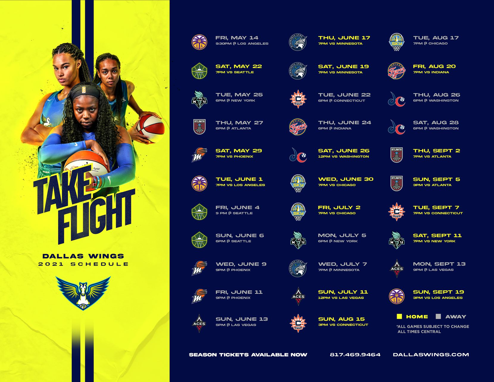 The Dallas Wings 2021 schedule.