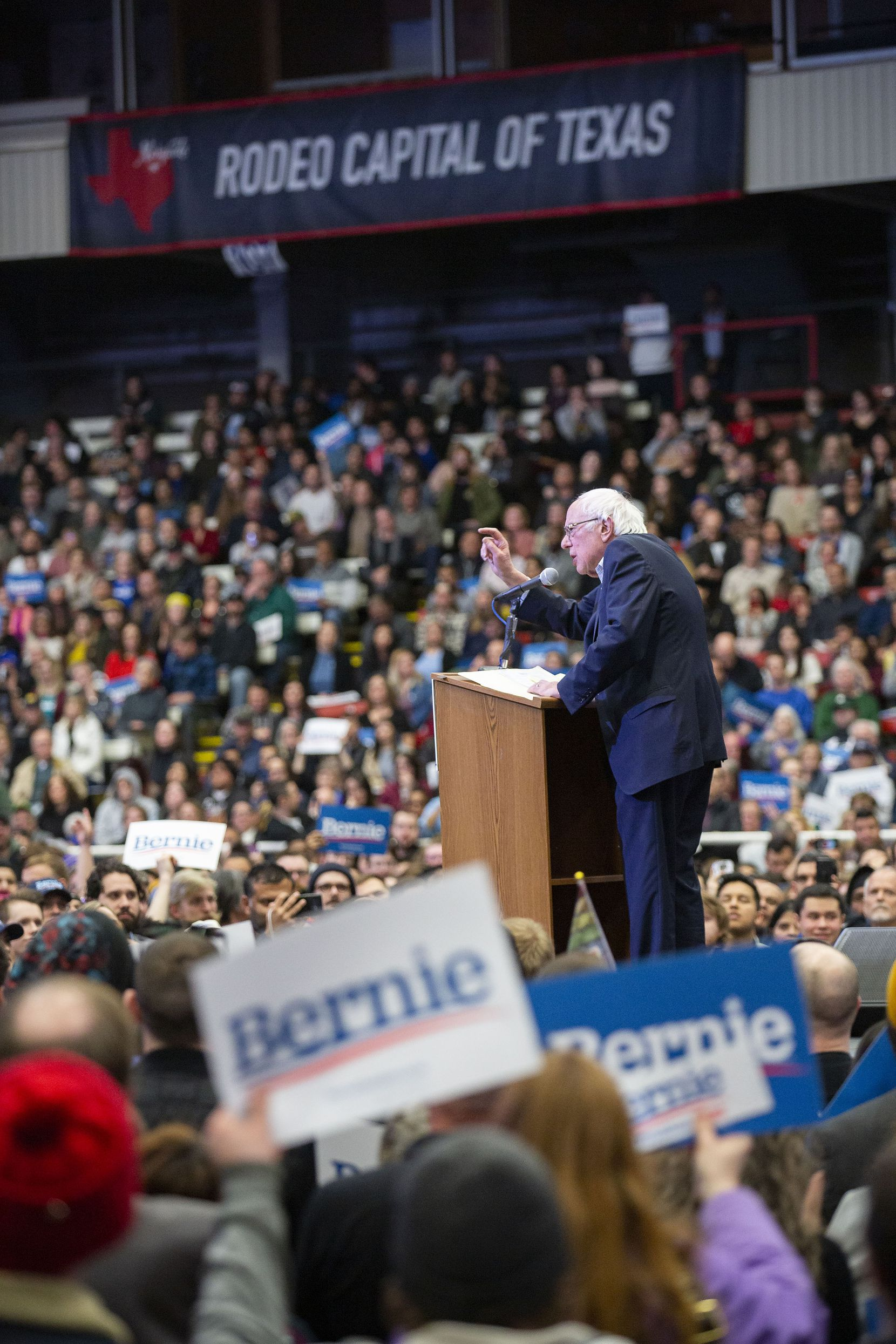 Democratic presidential candidate Bernie Sanders, I-Vt., holds a Valentine's Day rally at the Mesquite Arena on Feb. 14, 2020 in Mesquite, Texas.