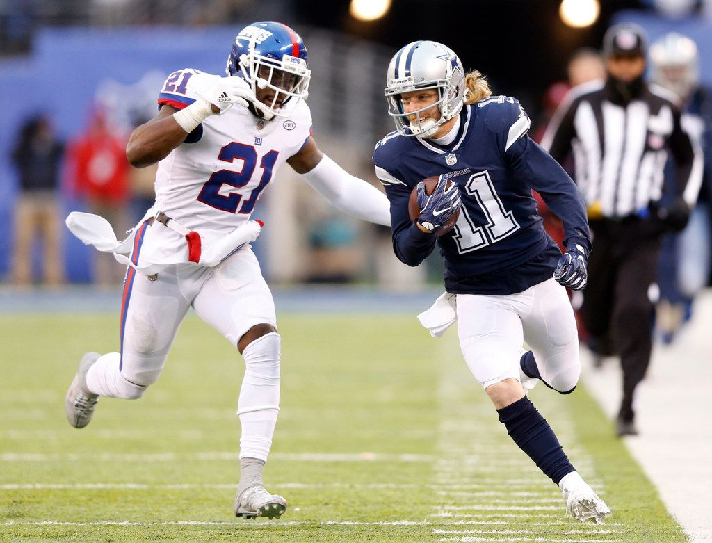 Dallas Cowboys wide receiver Cole Beasley (11) is chased by New York Giants strong safety Landon Collins (21) during a 54 yard reception during the second half of play at MetLife Stadium in East Rutherford, New Jersey, on Sunday, December 10, 2017. Dallas Cowboys defeated the New York Giants 30-10. (Vernon Bryant/The Dallas Morning News)