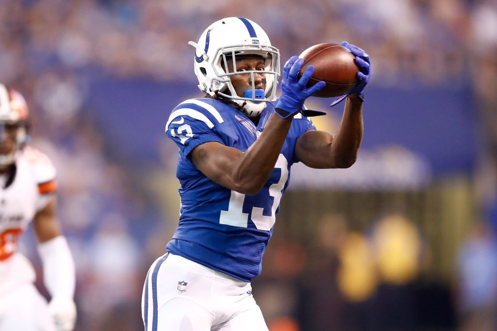 INDIANAPOLIS, IN - SEPTEMBER 24: T.Y. Hilton #13 of the Indianapolis Colts catches a pass during the game against the Cleveland Browns at Lucas Oil Stadium on September 24, 2017 in Indianapolis, Indiana. (Photo by Andy Lyons/Getty Images)