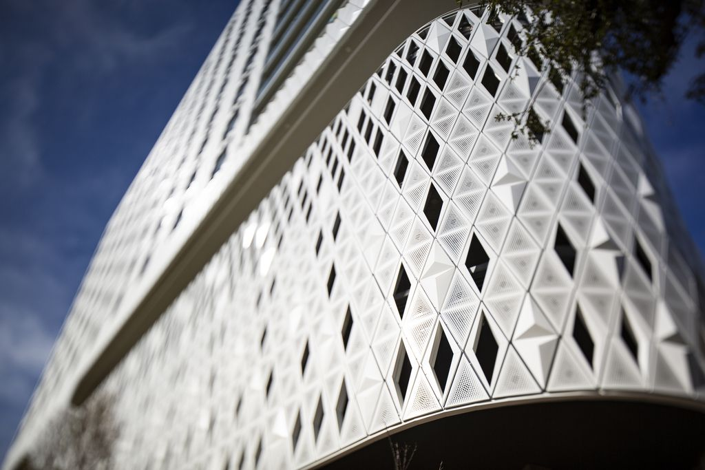 Close up of the Virgin Hotels Dallas diamond-patterned skin exterior. The hotel opens in December.