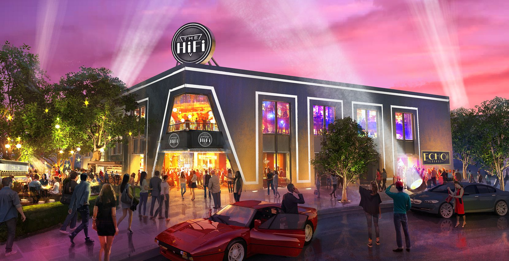 The exterior of The HiFi Dallas, now a Design District warehouse, is set to open in May.
