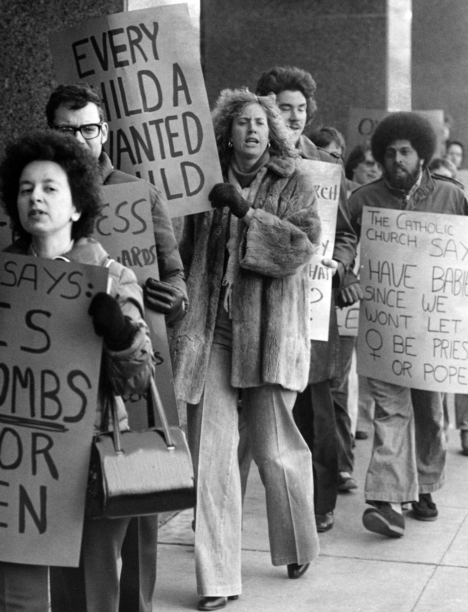 Jan. 22, 1979: About 50 abortion advocates rallied Sunday to commemorate the sixth anniversary Monday of the landmark U. S. Supreme Court decision - spurred partly by a Dallas case - that legalized abortion.  It began at the Catholic Diocese Building, 3915 Lemmon, where demonstrators carried pro-abortion signs, chanted slogans and sang.  They then drove to the Earl Cabell Federal Building downtown for more picketing.
