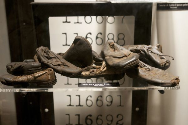 Children's shoes from the Majdanek concentration camp during the German occupation of Poland are on display at the Dallas Holocaust Museum.