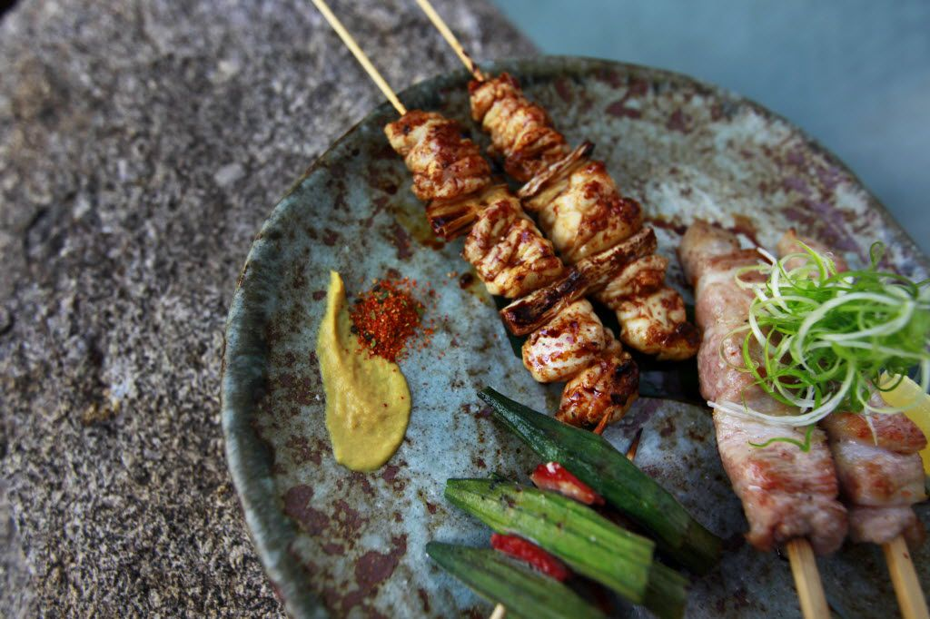 Three types of yakitori – skewers ready to be grilled over binchotan – at Teppo