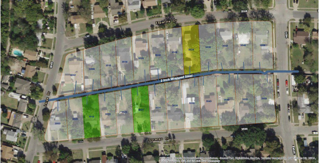 An image provided to the National Transportation Safety Board by Atmos Energy shows the locations of the home hit by a deadly natural gas  blast Feb. 23  (lot marked in yellow) and two homes hit by fires on Feb. 21 and 22 (lots marked in green).