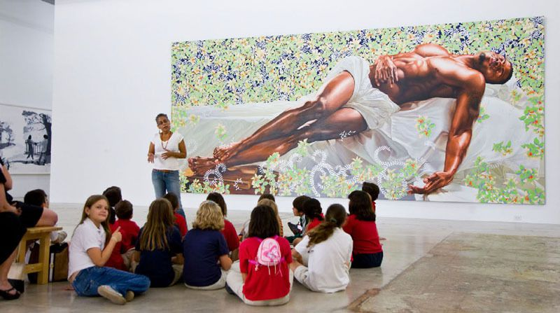 """Works by Kehinde Wiley are on display as part of the """"30 Americans"""" exhibit at the Arlington Museum of Art."""