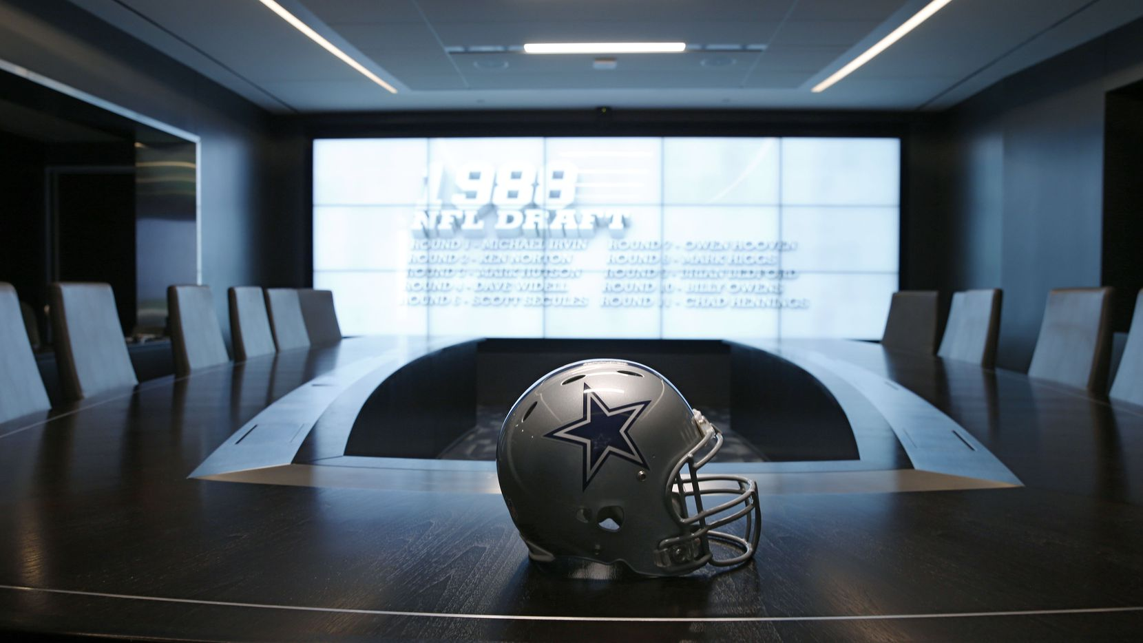 Dallas Cowboys war room at the Dallas Cowboys headquarters at The Star in Frisco on Tuesday July 17, 2018.