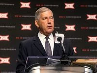 FILE - Big 12 commissioner Bob Bowlsby speaks during Big 12 media days at AT&T Stadium in Arlington on Monday, July 15, 2019.