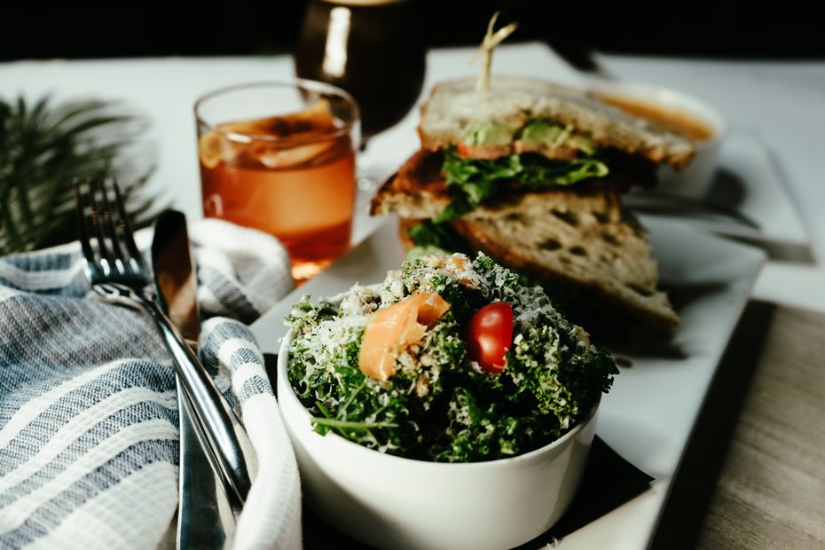 A soup and salad combo at Parterre might include tomato bisque and kale salad with poppyseed vinaigrette dressing.