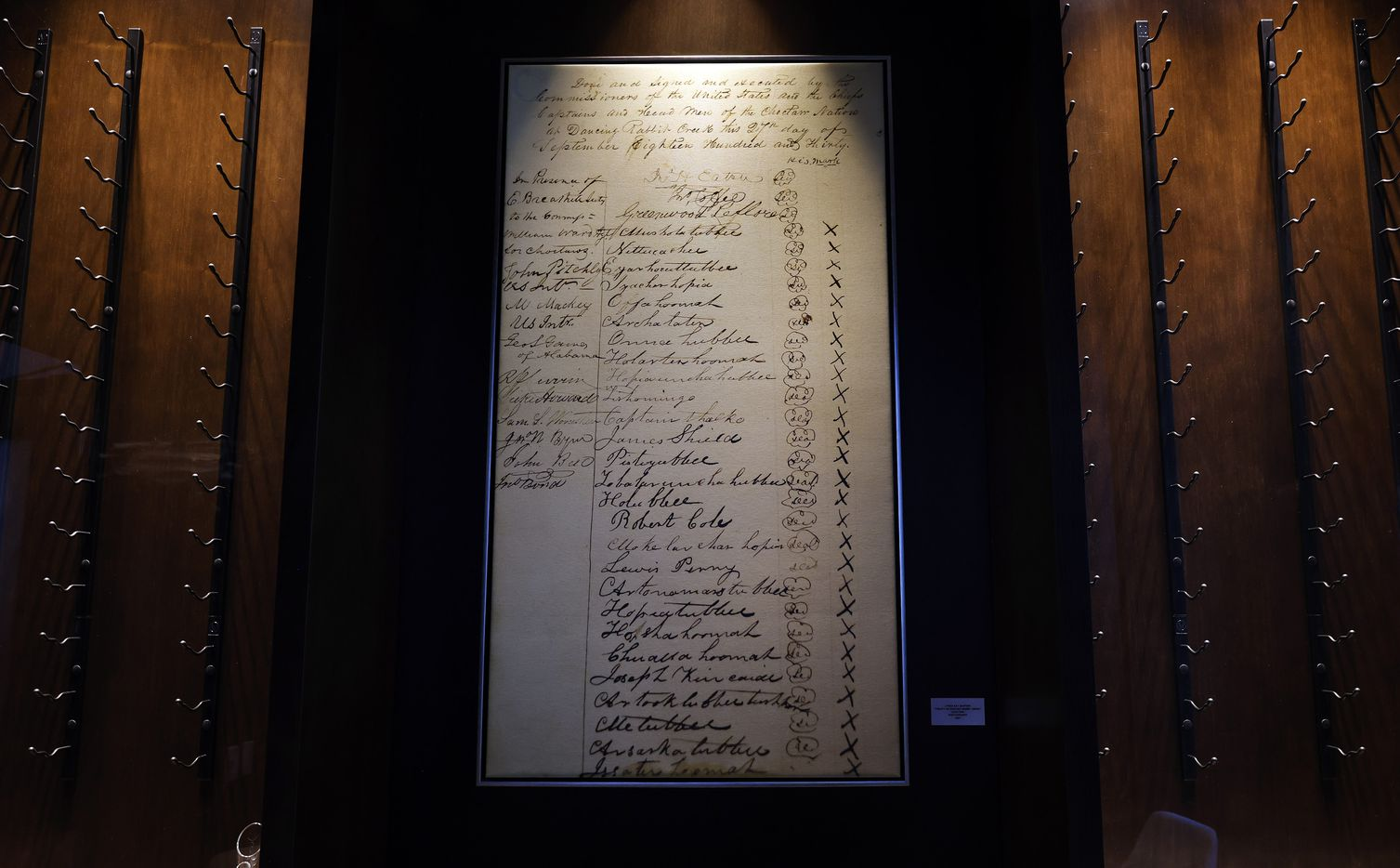 An enlarged photo of the Treaty of Dancing Rabbit Creek is on display in a private dining room of 1832 Steakhouse at Choctaw Casino and Resort's new 21-story Sky Tower complex.