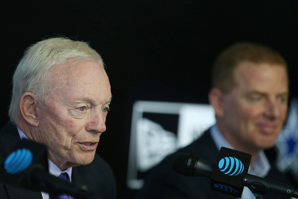 Dallas Cowboys owner Jerry Jones address rumors of tight end Jason Witten retiring while speaking at a press conference to introduce Boise State linebacker Leighton Vander Esch as the Cowboys first pick in the 2018 National Football League draft at The Star in Frisco, Texas Friday April 27, 2018. (Andy Jacobsohn/The Dallas Morning News)