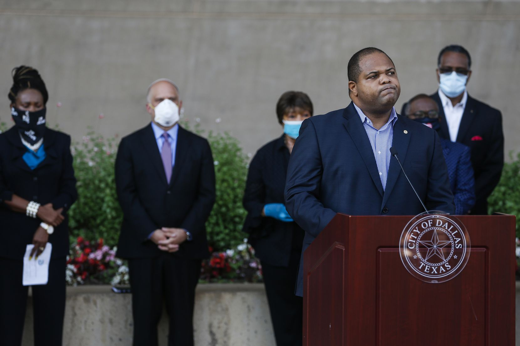 Dallas Mayor Eric Johnson speaks during a memorial service for George Floyd on June 5, 2020 at City Hall in Dallas.