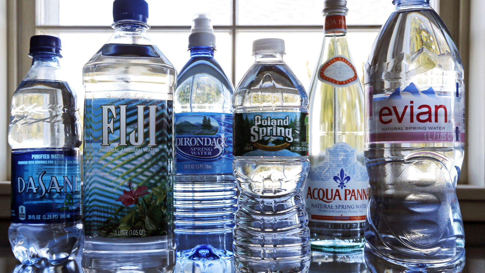 A selection of bottled waters.