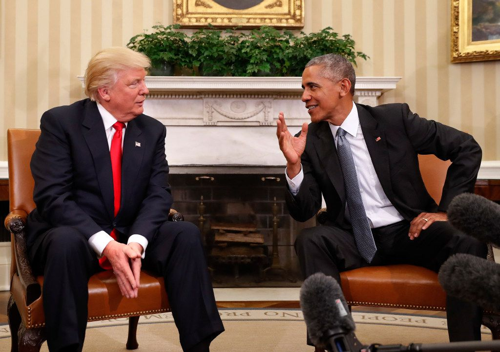 Donald Trump and Barack Obama meet in the White House.