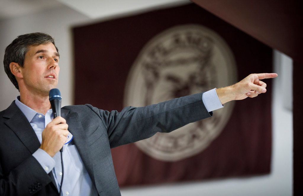U.S. Rep. Beto O'Rourke, D-El Paso, addresses a town hall at Plano High School on Nov. 9.