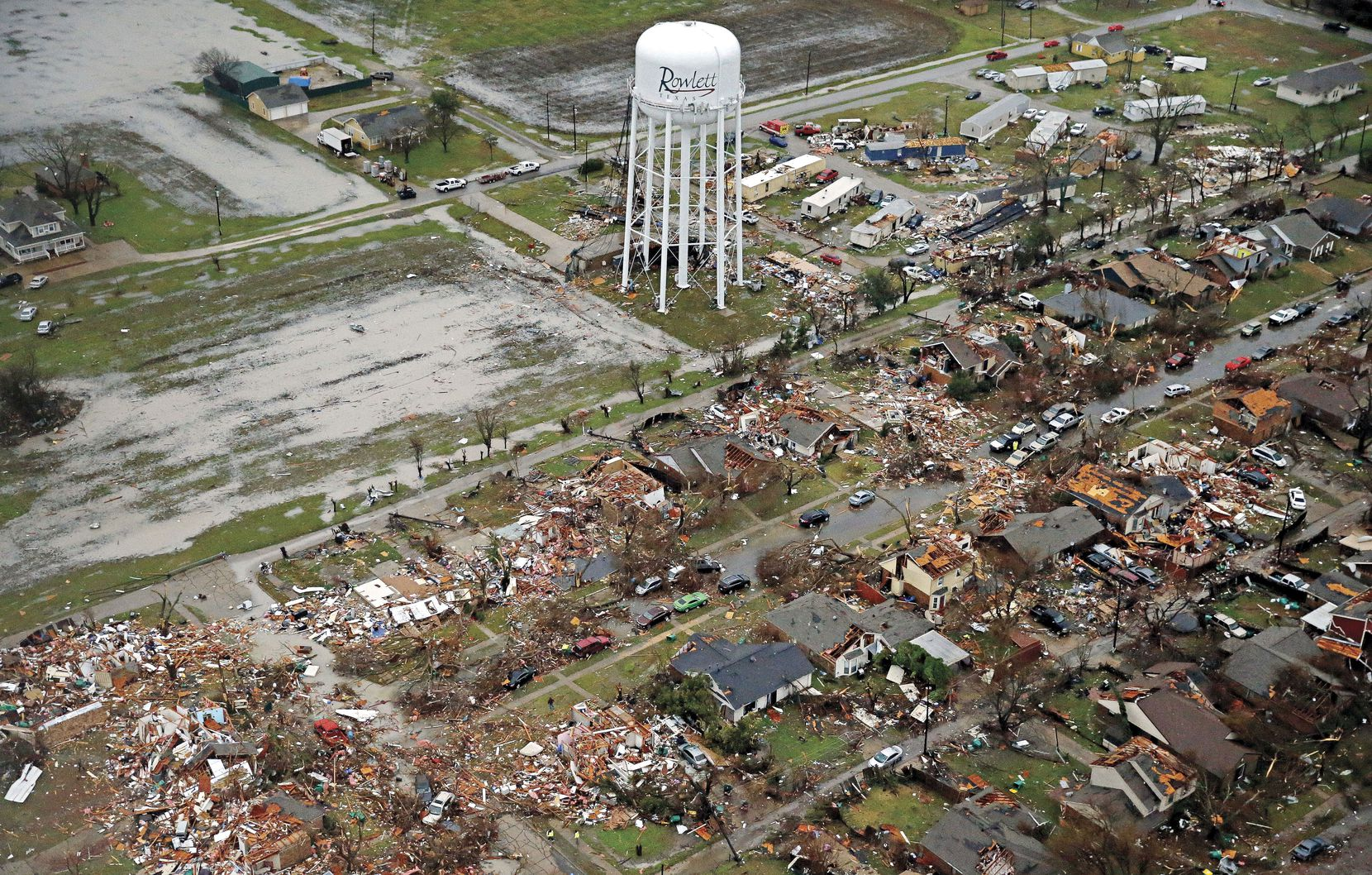 An aerial image of Rowlett from Dec. 27, 2015, shows the path of a tornado that ripped through the area on Christmas Eve. Nearly 450 buildings were destroyed by the deadly storm.