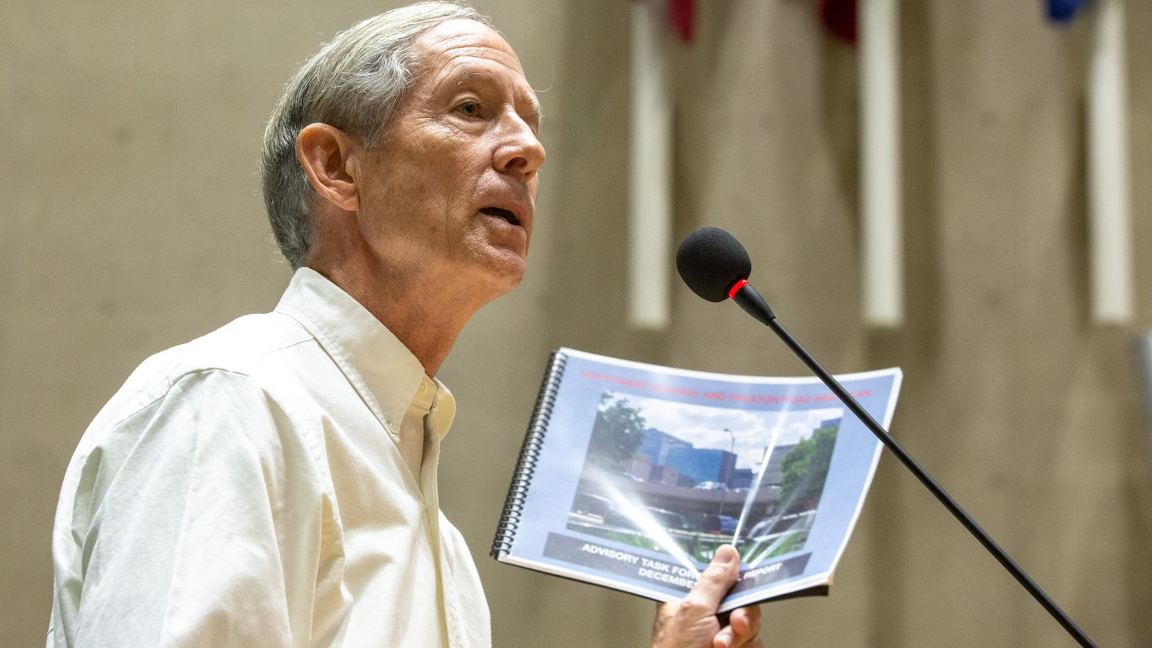 Steve Dawson addressed the Dallas City Council in September about a controversial plan to build high-rise homes in the affluent Preston Hollow neighborhood. A new law requires governing bodies to either allow members of the public to speak on scheduled agenda items at the beginning of a meeting or during each agenda item.