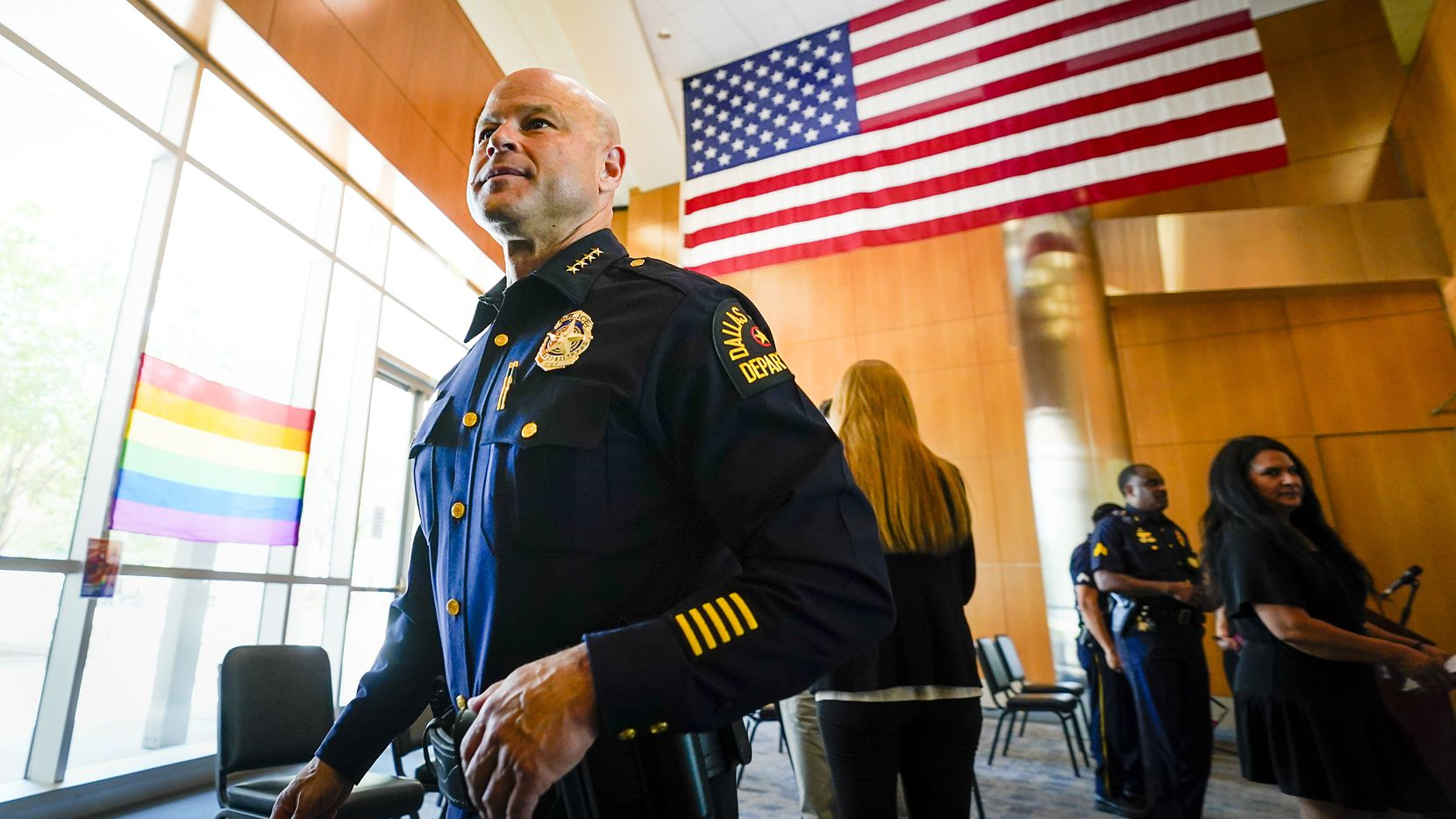 Dallas Police Chief Eddie Garcia departs a press conference on a law enforcement action taken to address violent crime at the FBI Dallas Headquarters on June 10, 2021, in Dallas. (Smiley N. Pool/The Dallas Morning News)