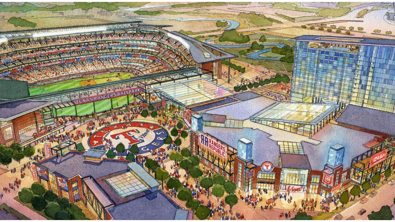 Proposed $1 billion Texas Rangers stadium alongside planned Texas Live! entertainment development.