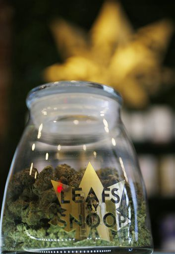 This Friday, Dec. 18, 2015 photo shows the label on a jar in the marijuana line marketed by rapper Snoop Dogg in one of the LivWell marijuana chain's outlets south of downtown Denver. The rapper is not the only celebrity with a marijuana line as others, such as Willie Nelson and descendants of Bob Marley, are scrambling to brand and trademark pot products in the industry as it becomes part of the mainstream.