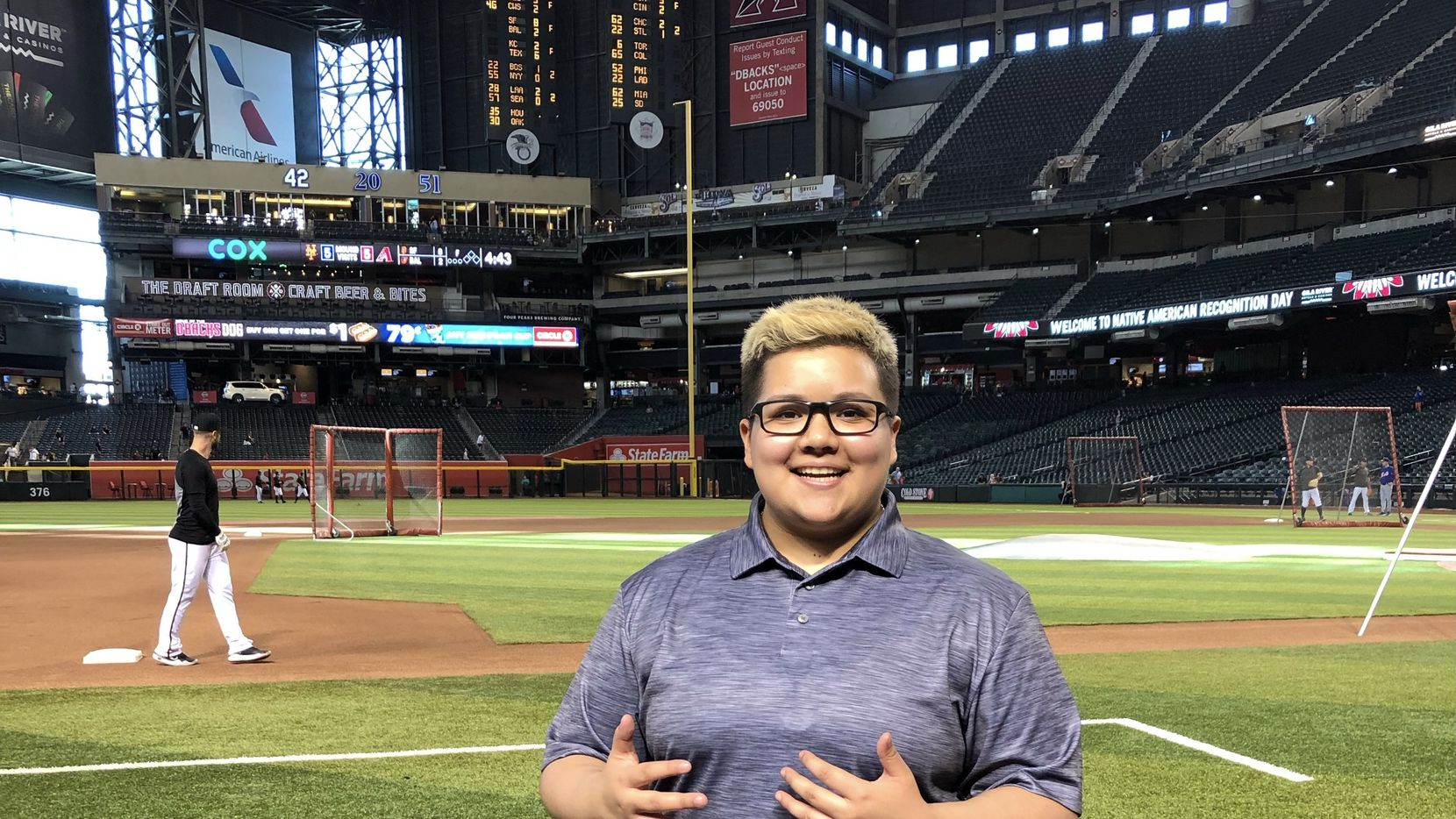 Arianna Vedia is a SportsDay intern at The Dallas Morning News. She is shown at Chase Field on June 1, 2019.